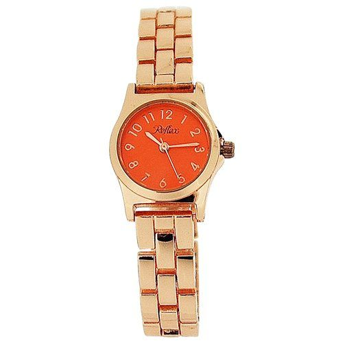 Reflex Ladies Analogue Orange Dial & Rose Tone Metal Bracelet Strap Watch LB115