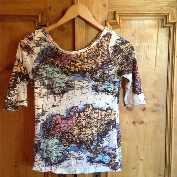 Urban Outfitters world map T-shirt Worn once. Cute and unique tee! Urban Outfitters Tops