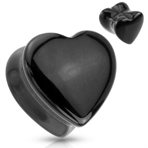 Piercing plug pierre onyx coeur