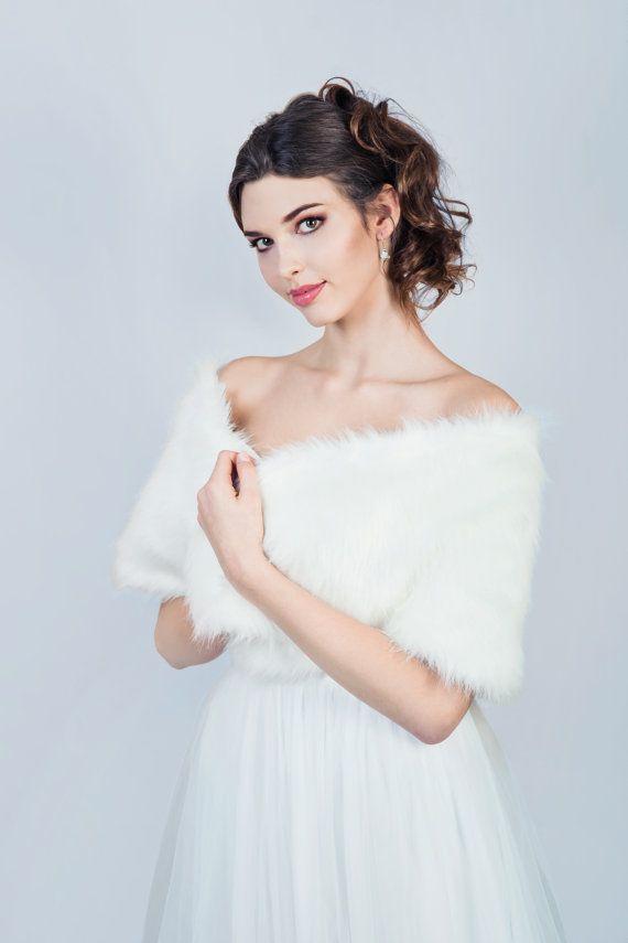 Winter bruids sjaal Faux fox bont sjaal bruids stal door MokkaBridal