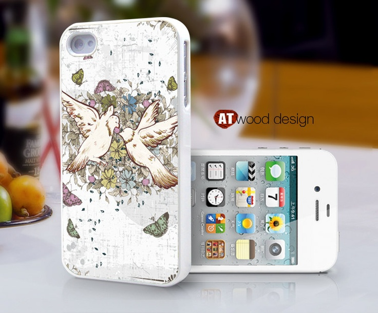 Case for iphone 4 case iphone 4s case iphone 4 cover classic bird and flower beautiful colors graphic design printing. $13.99, via Etsy.