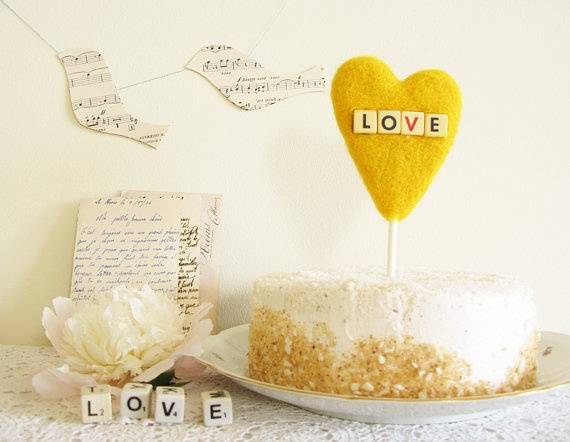 Yellow Heart Wedding Cake Topper with Vintage Dice by cherrytime, $39.00