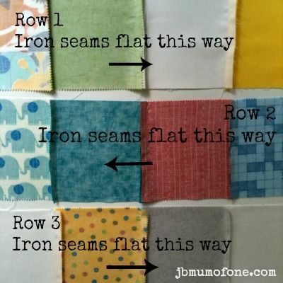 Iron down row seams Beginners Quilting Series