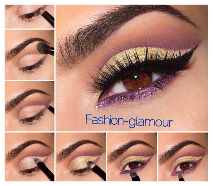 Sombras de ojos paso a paso todo sobr maquillaje pinterest beautiful purple and gold - Ojos ahumados para principiantes ...