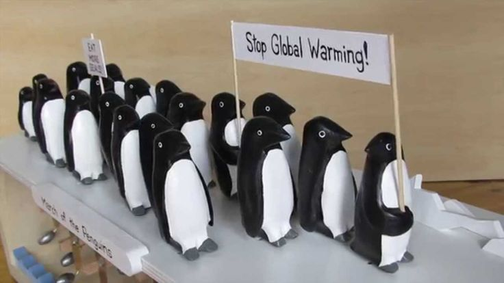 This automata is a parody of the March of the Penguins, a popular documentary on Antarctic penguins. In this case the penguins, normally considered cute and ...