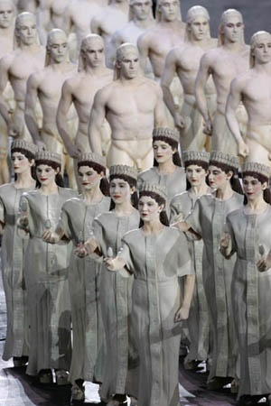 Performers dressed as ancient greek statues/Opening Ceremony  Athens Olympic Games 2004