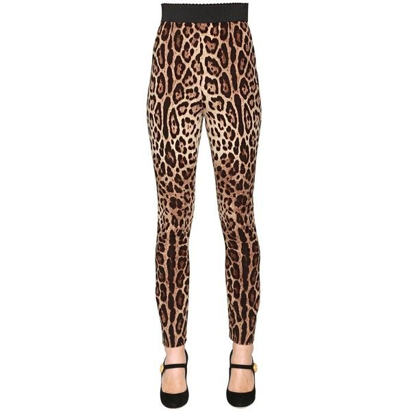 Dolce & Gabbana Women Leopard Stretch Silk Cady Leggings (1,130 CAD) ❤ liked on Polyvore featuring pants, leggings, leopard, high waisted legging pants, high-waist trousers, high rise leggings, high-waisted pants and stretch waist pants