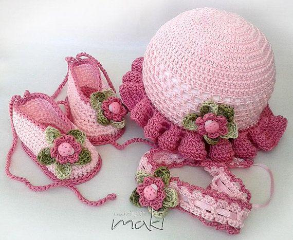 Crochet pattern Baby set hat booties and headband. by MakiCrochet