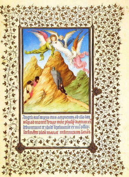 Catharina van Alexandrië - Stoffelijk overschot Catharina overgebracht naar sindsdien naar haar  vernoemde Catharinaklooster op Sinaï. ca 1410, gebroeders Limburg,  illuminatie getijdenboek Duc du Berry. USA, Cloisters.