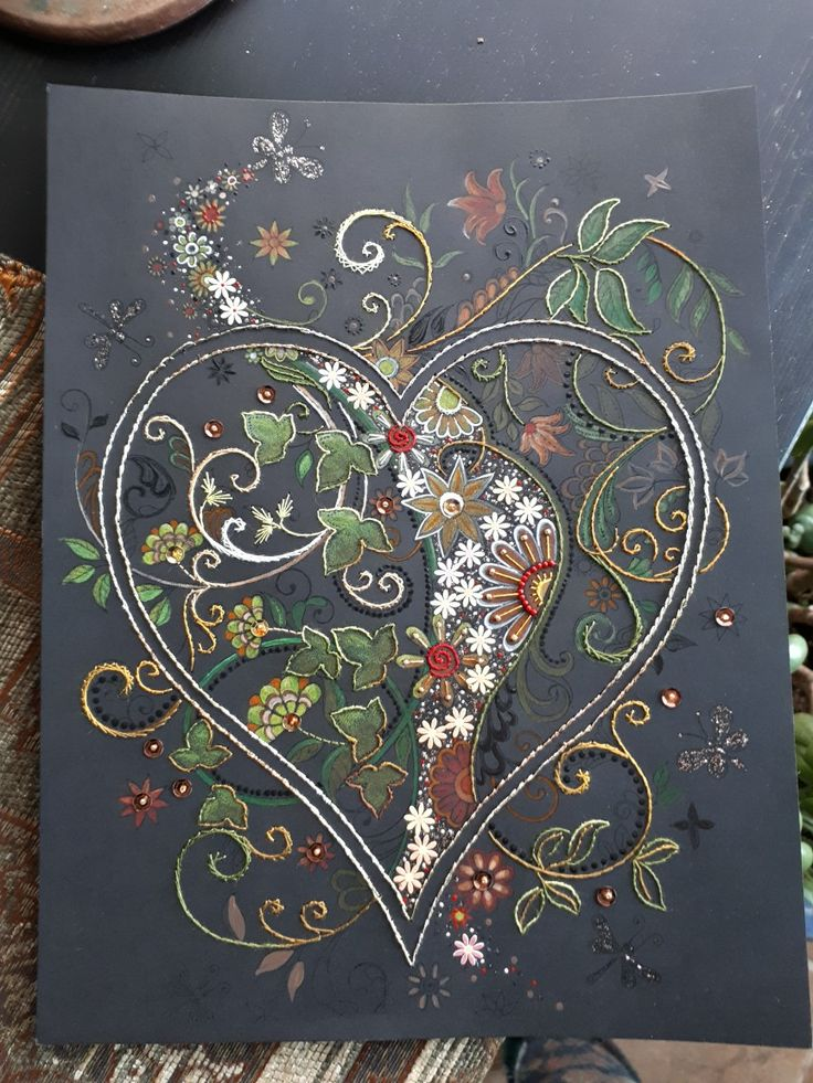 Margaret Roolker Paper embroidery, with beads, colouring; on black paper;