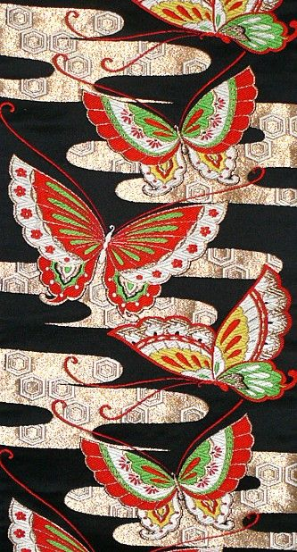Japanese early 1960's traditional 'fukuro' obi belt with butterflies and mist motif  material: silk brocade