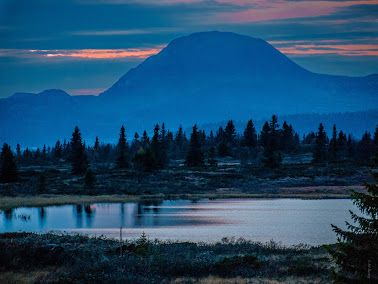 Rundemellen blue hour. The mountain Rundemellen with the last rays from the sun in the background in Valdres, Norway. Would you like to hike to the top? You are guaranteed a great view. -- by Pål Børsting - Google+