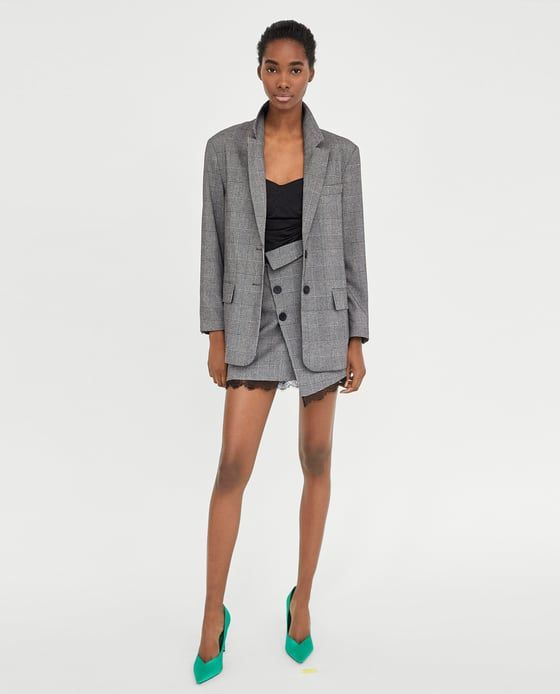 ZARA - WOMAN - CHECKED MINI SKIRT WITH LACE TRIMS