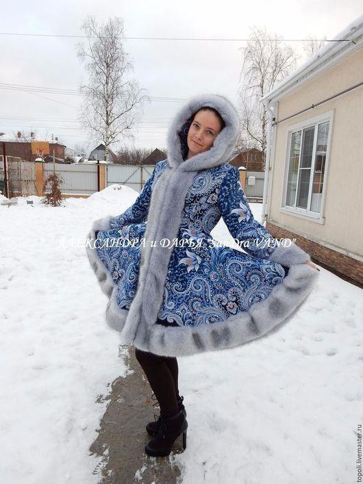 """Верхняя одежда ручной работы. Ярмарка Мастеров - ручная работа. Купить Пальто с капюшоном  """"Морозко"""". Handmade. Синий, подарок"""