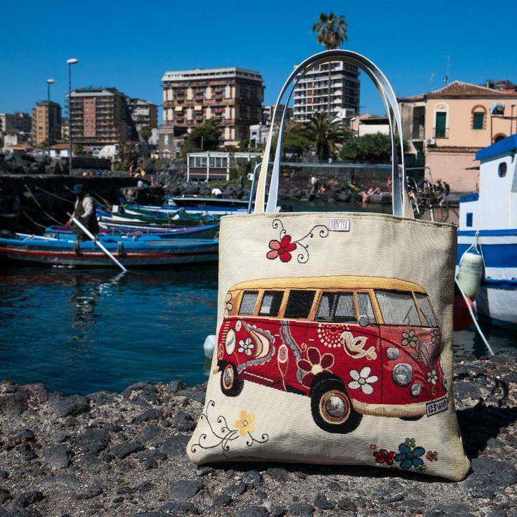 Isn't it the really hippie van? *_*   #bag #handmade #etsy #etsyseller #van #volkswagen #seventies # tessue #leather #beige #red #flover #design #recicled #damper #birthdaypresent #summer #spring #holiday