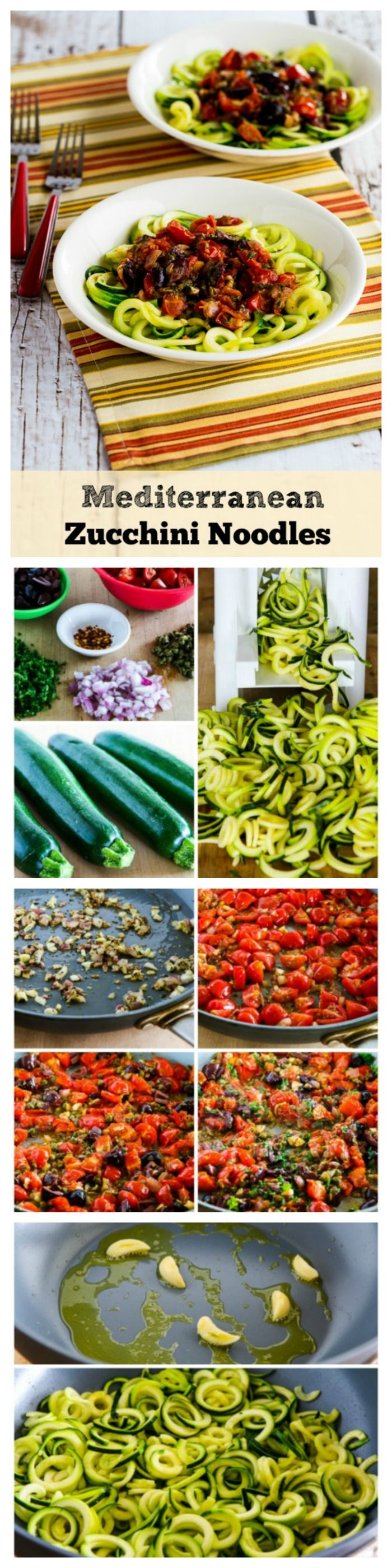 These Mediterranean Zucchini Noodles have a sauce with red onion, garlic, dried herbs, tomatoes, Kalamata Olives, capers, red pepper flakes, and parsley for a healthy dinner that tastes amazing.  This nutritious Meatless Monday recipe is low-carb, gluten-free, Paleo, vegan, and South Beach Phase One.  [from KalynsKitchen.com]