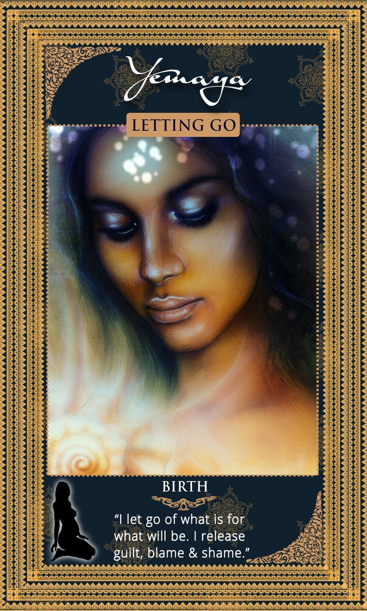Goddess and Yoruba Orisha Yemaya! This is the card of letting go and Yemaya's affirmation is: I let go of what is for what will be. I release guilt, blame and shame. Ase! Card from the Womanifesting Fertility Goddess Oracle Card Deck.