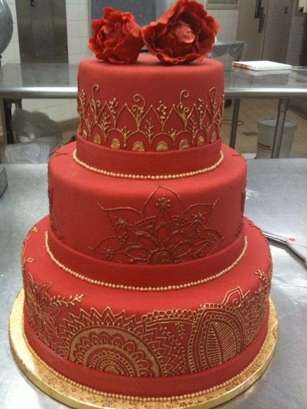 Indian Weddings Inspirations. Henna Wedding Cake. Repinned by #indianweddingsmag indianweddingsmag.com #weddingcake #red