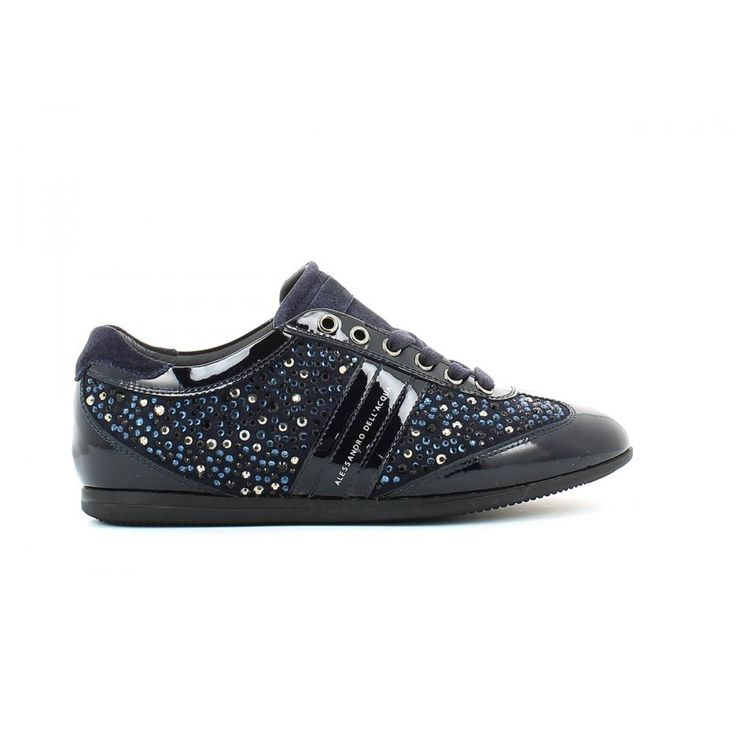 - Sneaker - Leather & Suede - Applied Strass - Leather Interior & Insole - Rubber Sole - Flat Heel