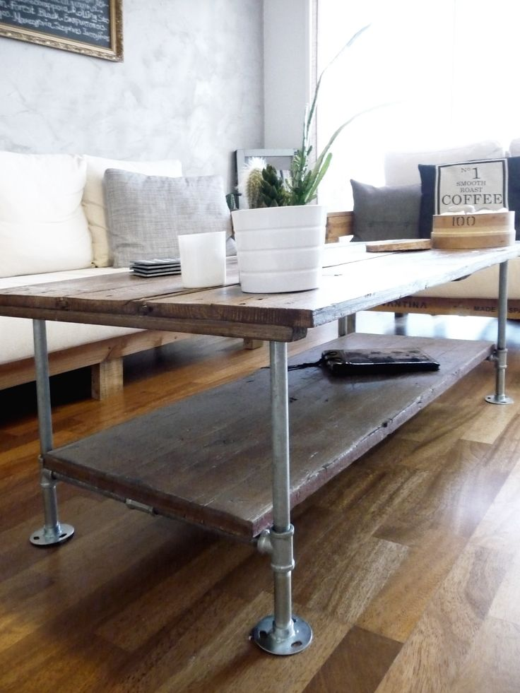 Coffee table with wood and galvanized steel pipes-rustic