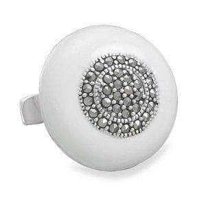 Round Marcasite White Enamel Ring Sterling Silver AzureBella Jewelry. $95.50. Genuine marcasite stones. .925 sterling silver