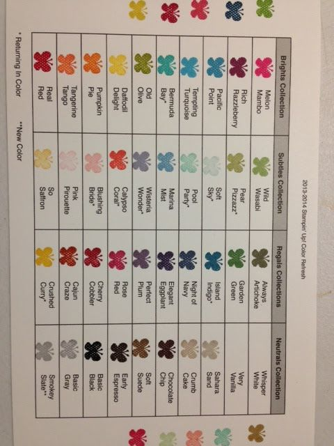 FREE DOWNLOAD--color chart to keep at YOUR stamping desk....