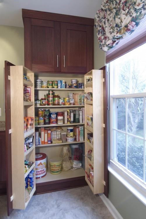 Pantry idea. Like the shelves inside the doors