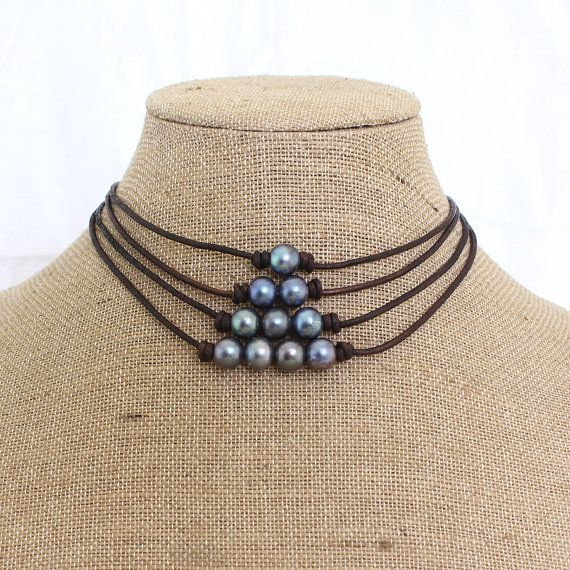 Black pearl choker Choker Chokers Leather choker by PearlJewellery