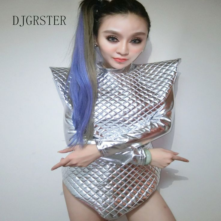 DJGRSTER female space costumes bodysuit singer sets DJ dance costumes DS costume reflective silver shiny piece suit clothing