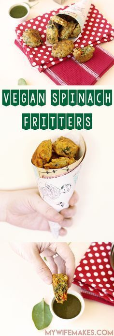 Indian Spinach Fritters - easy to make, VEGAN and GLUTEN FREE. Delicious! #vegan #fritters #spinach #veganfood #veggies #glutenfree #simple #snacks
