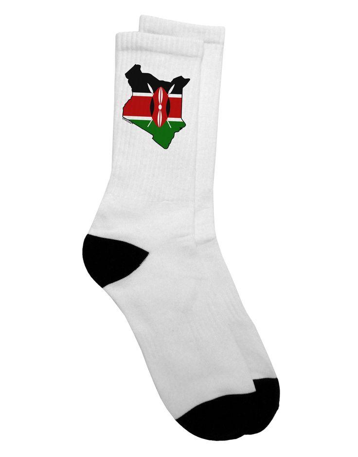 TooLoud Kenya Flag Silhouette Adult Crew Socks