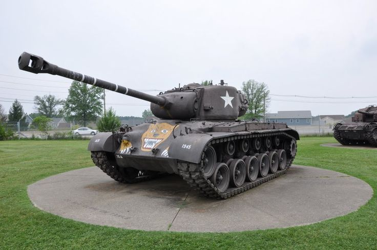 """m26 pershing   M26 Pershing """"tiger face"""" at Patton Museum"""