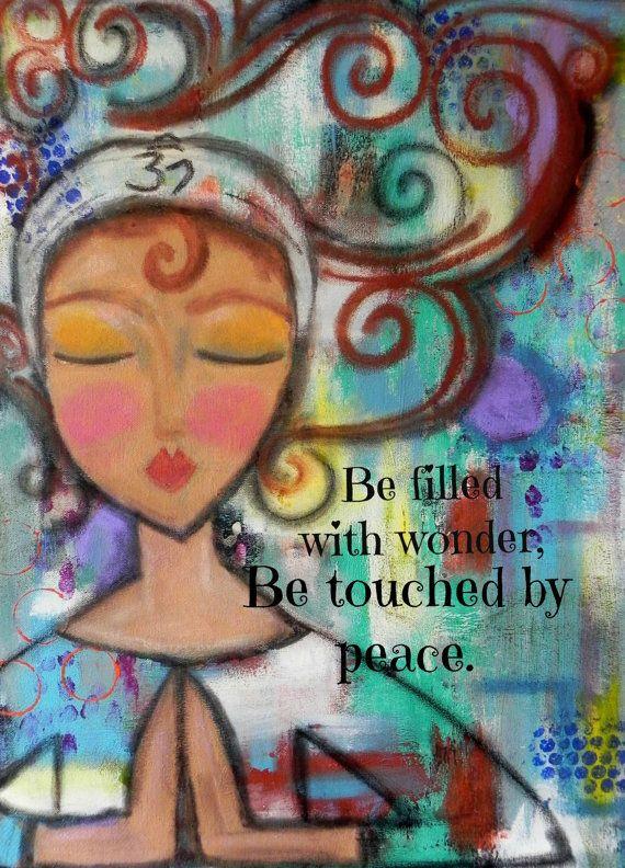 OM yoga inspired art PRINT 5x7 card by Southendgirlart on Etsy, $6.00