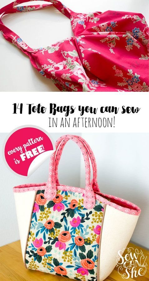 14 Free Tote Bag Patterns You Can Sew in a Day! (plus tips to make it happen) — SewCanShe   Free Daily Sewing Tutorials