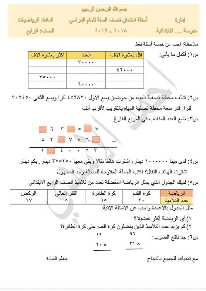 أسئلة إمتحان نصف السنة للصف الرابع الإبتدائي الرياضيات اكثر من نموذج اهلا بكم متابعي موقع وقناة الاستاذ احمد مهدي شلال في هذا الموضوع سن In 2021 Blog Posts Blog