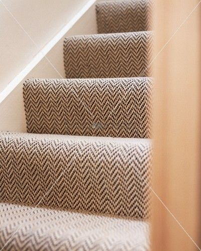 patterned stair runner on stairs