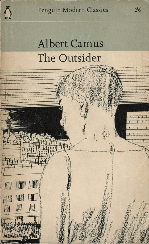 1963 Penguin edition of Camus' The Outsider, cover drawing by Paul Hogarth