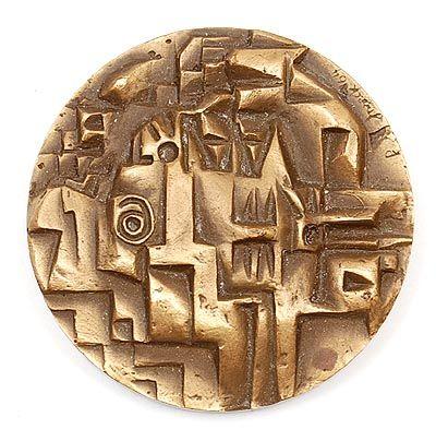 Found on www.botterweg.com - Cast bronze medal Ruimtevaart design Jan Snoeck 1964 executed by Koninklijke Begeer Voorschoten / the Netherlands
