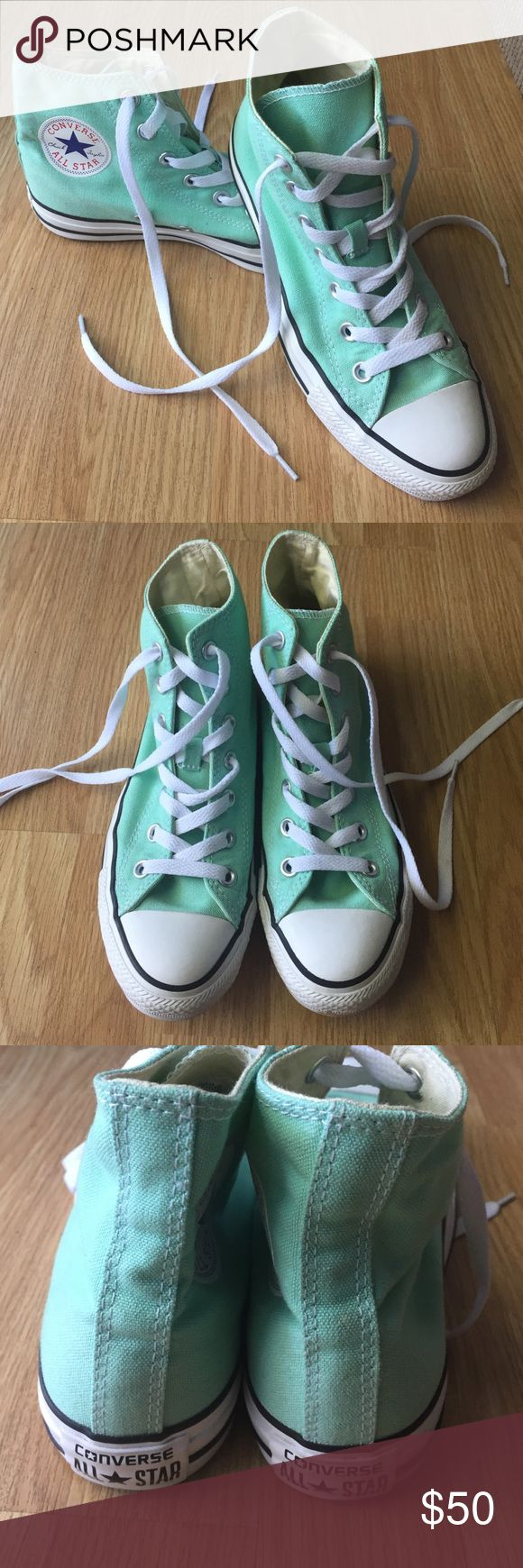Converse Chuck Taylor Hi Tops in Mint Green Worn only a handful of times. No flaws. Size 5 men's, 7 women's. Converse Shoes Sneakers