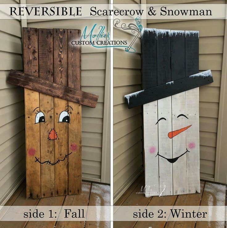Reversable DIY porch project. Scarecrow for the fall & Snowman for winter. So cute!