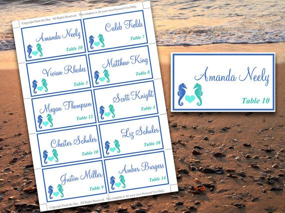 beach wedding place cards microsoft word template