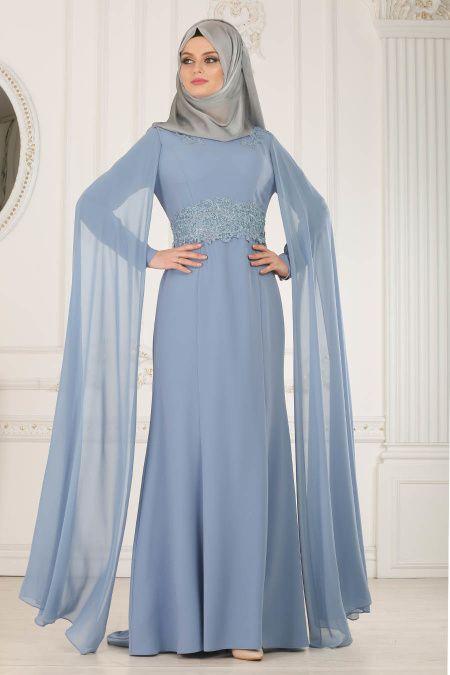 1cb0d778aa556 Tesettür İsland Mavi Renk Abiye Elbise Modelleri - Moda Tesettür Giyim