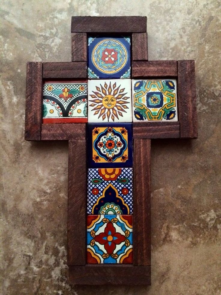 D ️wall Cross Reclaimed Wood Mexican Talavera Tile