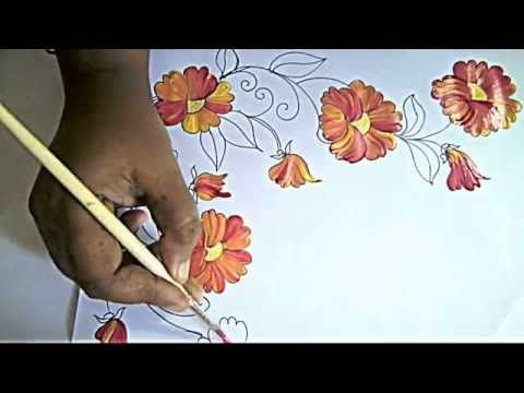 Fabric Painting- bed sheet Painting-corner designs - YouTube