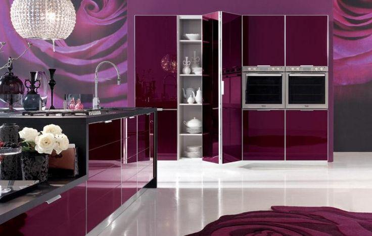 Purple Modern Kitchen Paint Wall Murals | Elegant purple kitchen rose wallpaper design