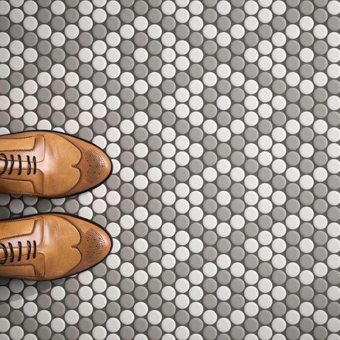 Roca Tile Cc Mosaics Gray And White Penny Round Ceramic