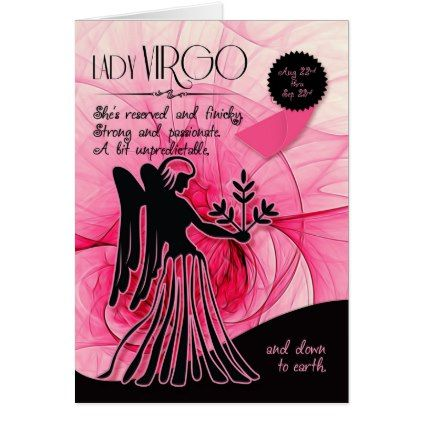 Virgo Birthday for Her Pink August 22 to Sep 23 Card - birthday cards invitations party diy personalize customize celebration