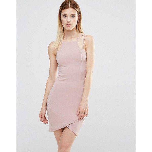 AX Paris Bodycon Mini Dress With Asymmetric Hem (51 BRL) ❤ liked on Polyvore featuring dresses, purple, short purple dresses, short dresses, high neck bodycon dress, body con dresses and high neck dress