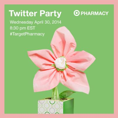 Please join us for the Target Pharmacy Twitter Party. Date of twitter party is Wednesday April 30, 2014 at 8:30pm EST. Please be sure to follow @TARGETCANADA on twitter.  (image dimensions400 x 400 pixels)