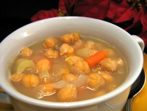 Tunisian Garlic and Chickpea Soup from Food.com:   								An 8-hour soaking time is needed but if you enjoy something different this just may be it.  Garlic and warm spices add so much to this substantial soup.  From Ethnic Cuisine.